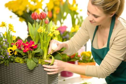 Image of woman arranging flowers